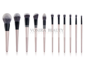 Vegan Taklon Hair 11 Pieces Synthetic Makeup Brushes With Golden Wood Handle